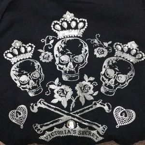 Victoria's Secret Skull Cropped ZIP Up Hoodie
